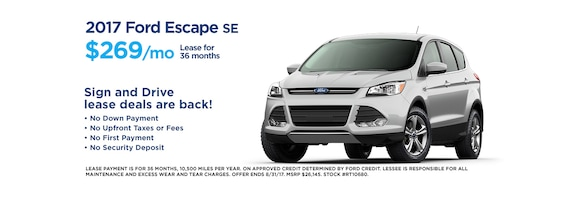 Ford Lease Deals 2017 >> Towne Ford August Sign Drive Specials Towne Ford