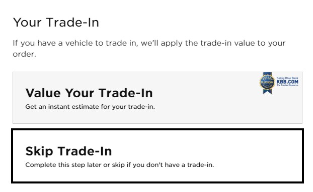 Screenshot of Value Your Trade-In section of Digital Retailing Tool