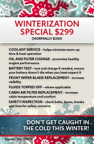 Winterization Special- Oil Change Filter Change