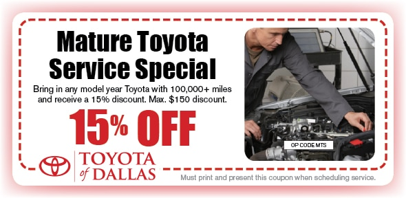 Mature Toyota Service Coupon, Dallas, TX Toyota Service Special. If no image displays, this offer has ended.