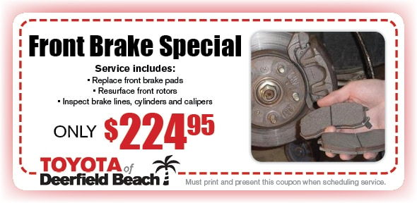 Brake Pad Service Special, Deerfield Beach Toyota Automotive Service