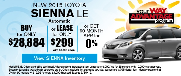 New 2015 Toyota Sienna Offer, Deerfield Beach FL