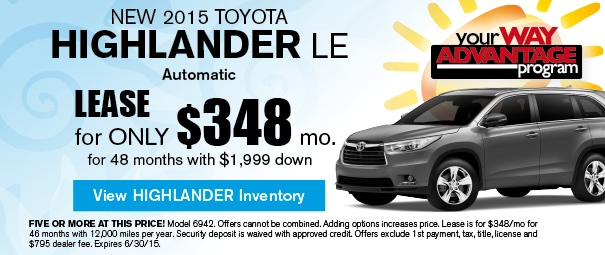 New 2015 Toyota highlander Offer, Deerfield Beach FL