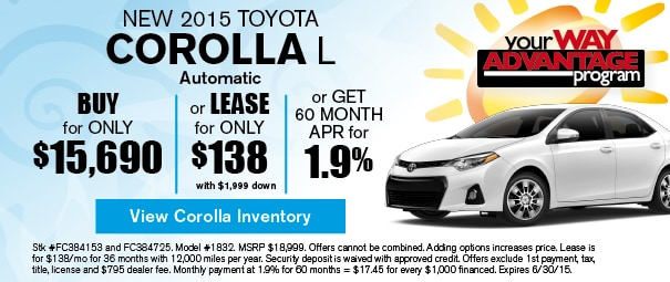 New 2015 Toyota Corolla Offer, Deerfield Beach FL