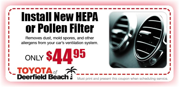 Pollen Filter, Deerfield Beach Toyota Automotive Service