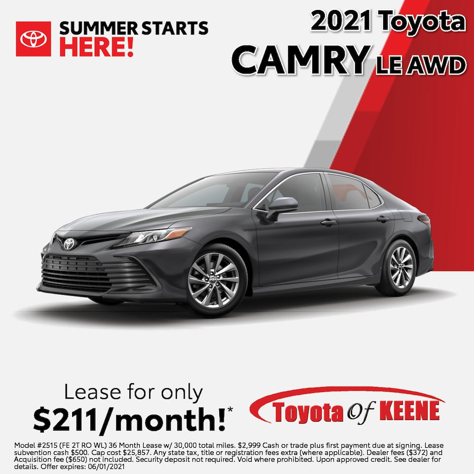 Lease a '21 Camry as low as $211/mo!*