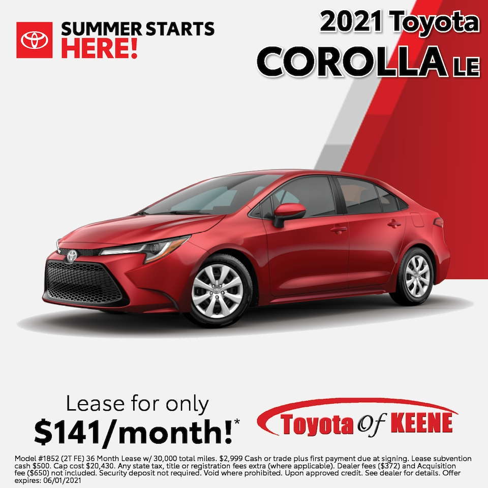 Lease a '21 Corolla as low as $141/mo!*