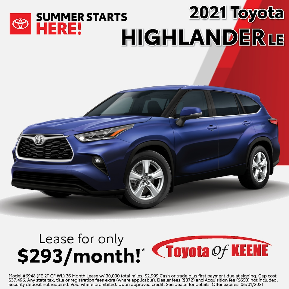 Lease a '21 Highlander as low as $293/mo!*