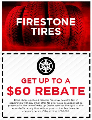 Get up to a $60 rebate on Firestone Tires