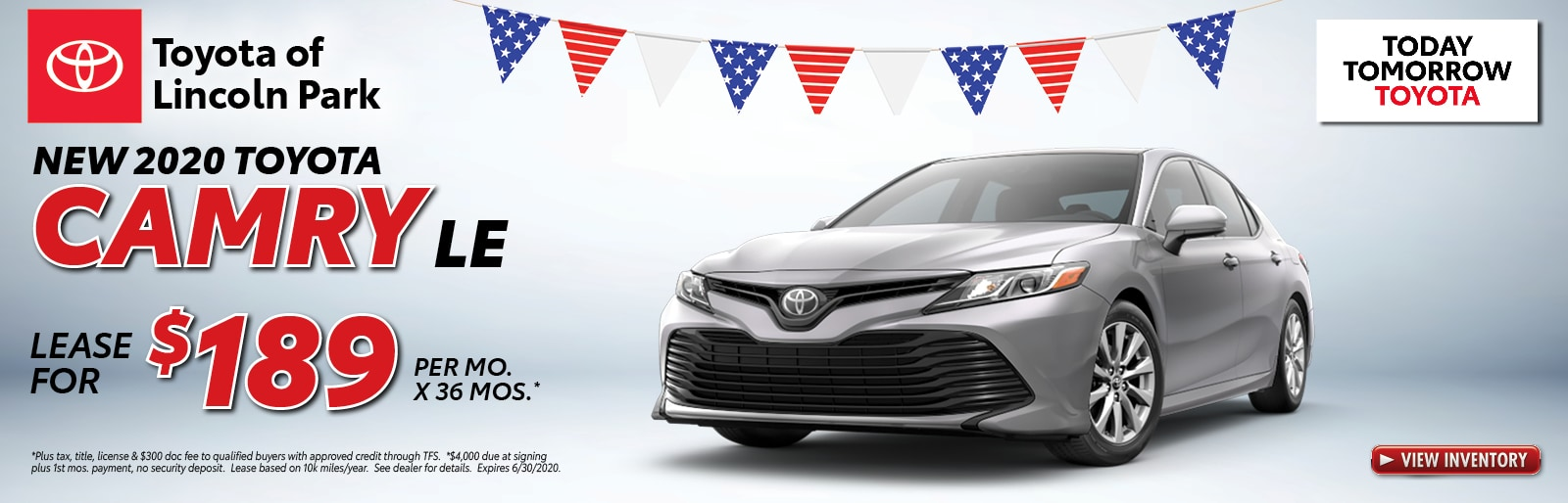 Lease a 2020 Corolla LE for $189/mo. x 36 mos.