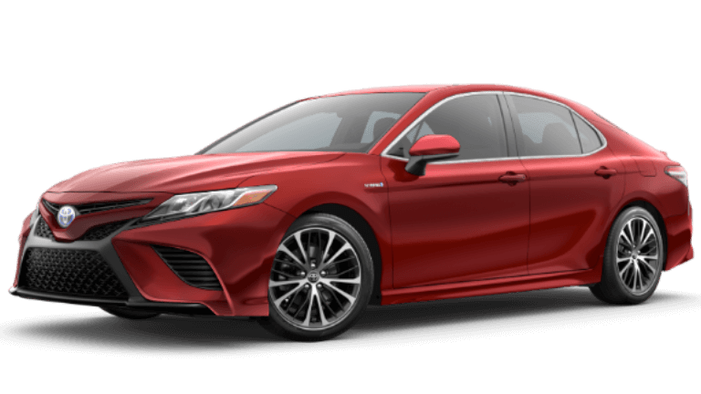2020 Toyota Camry Hybrid SE in Supersonic Red