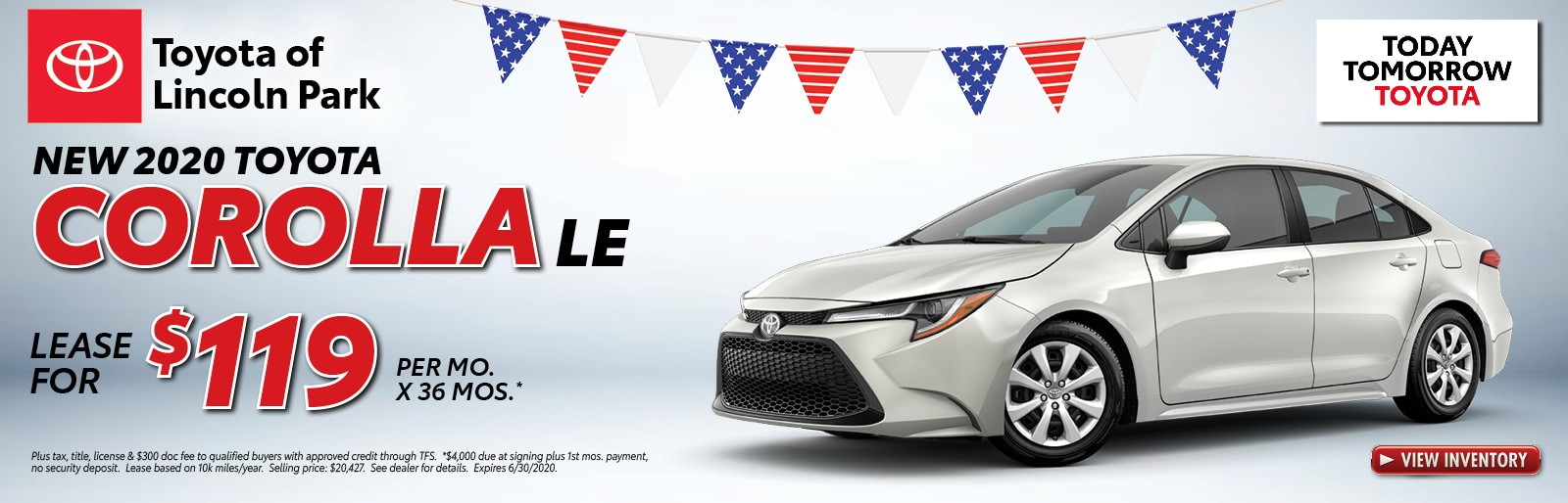 Lease a 2020 Corolla LE for $119/mo. x 36 mos.