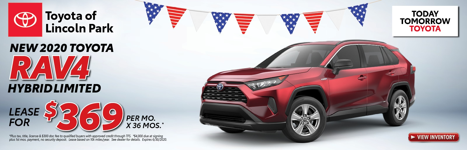 Lease a 2020 RAV4 Hybrid XSE AWD for $289/mo. x 36 mos.