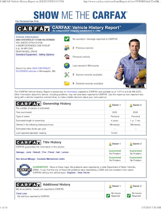 reading a carfax history report orlando used cars. Black Bedroom Furniture Sets. Home Design Ideas