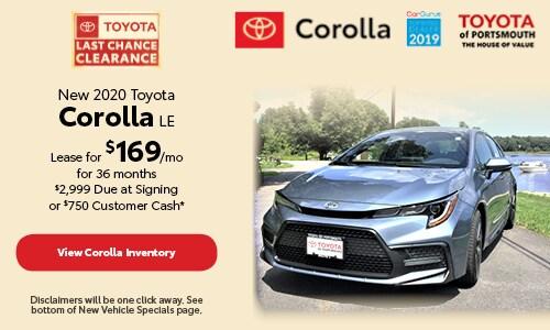 September New 2020 Toyota Corolla LE