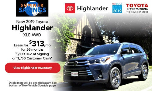 June New 2019 Toyota Highlander Offer at Toyota of Portsmouth