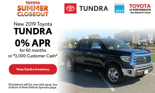 July New 2019 Toyota Tundra Offer at Toyota of Portsmouth