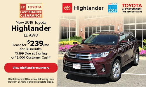 September New 2019 Toyota Highlander LE AWD
