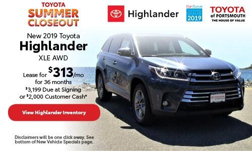 July New 2019 Toyota Highlander Offer at Toyota of Portsmouth