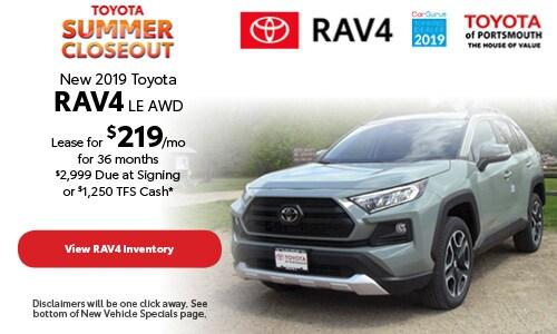 July New 2019 Toyota RAV4 Offer at Toyota of Portsmouth