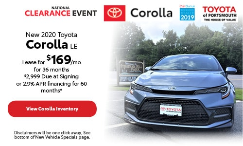 August New 2020 Toyota Corolla Offer