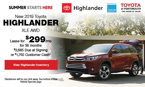 May New 2019 Toyota Highlander Offer at Toyota of Portsmouth