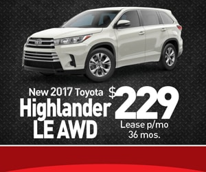 Toyota Highlander 2017 Lease >> Toyota Highlander Lease Special Toyota Of Runnemede