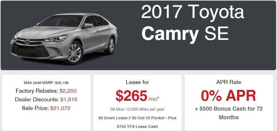 New 2017 Camry Sale Offer