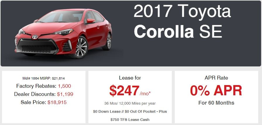 New 2017 Corolla Sale Offer