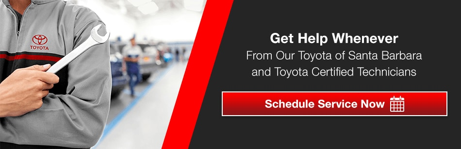 Get Help Whenever From Our Toyota of Santa Barbara and Toyota Certified Technicians CLICK HERE TO SCHEDULE SERVICE NOW