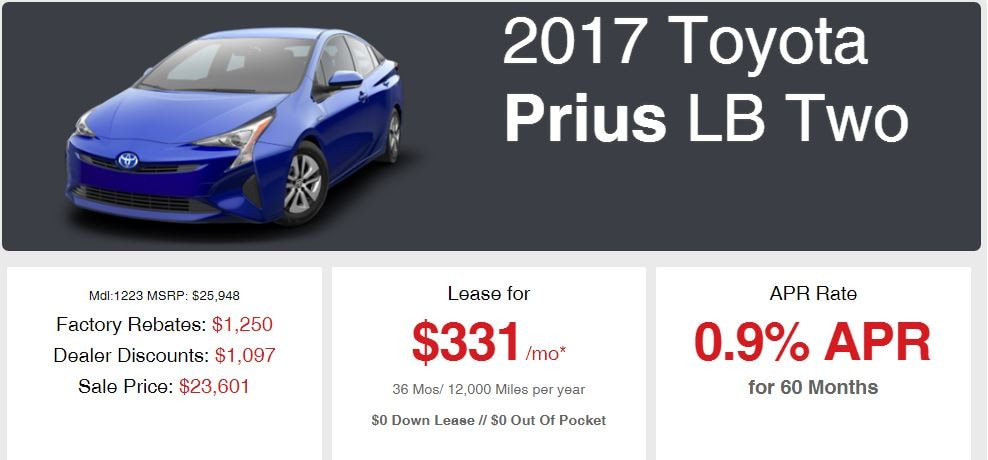 New 2017 Prius Sale Offer