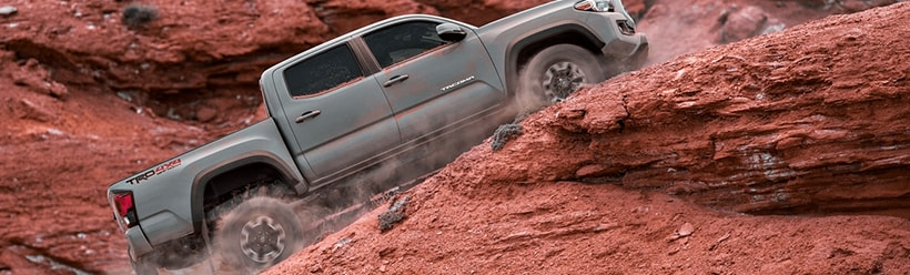 TRD Off-Road Double Cab shown in Cement with available Premium and Technology Packages and mudguards.