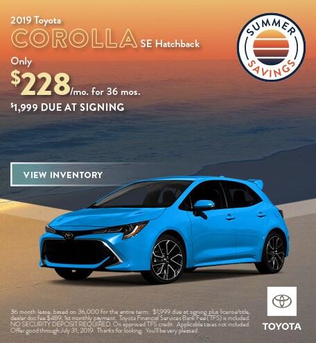 2019 - Corolla Hatchback - July