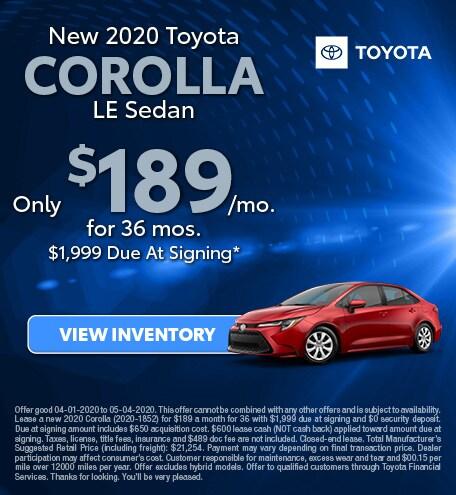 2020 - Corolla Lease - April