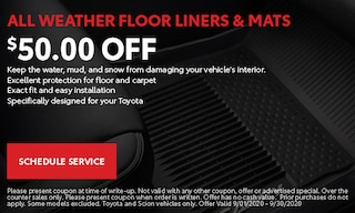 $50 Off All Weather Floor Liners and Mats