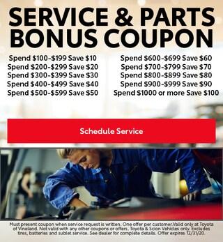 October Service & Parts Bonus Coupons