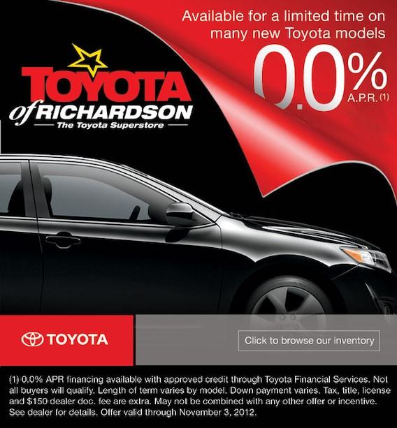 0 Apr New Toyotas Car Loan Specials Dallas Area Auto Financing
