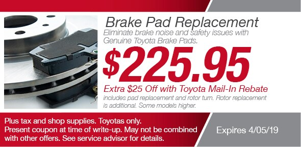 Toyota Brake Pads >> Brake Pads Service Toyota Richardson Service Coupon