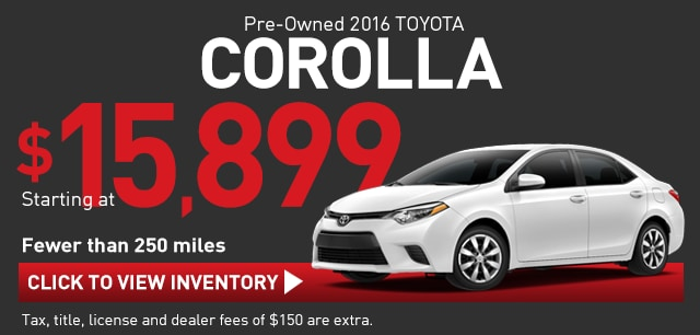 Like-New Used Corolla with Under 250 miles, Richardson TX Toyota Sales