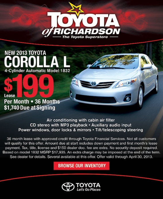 Image result for 2013 Corolla cheap lease