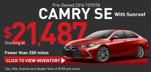 Like-New Used Camry with Under 250 miles, Richardson TX Toyota Sales