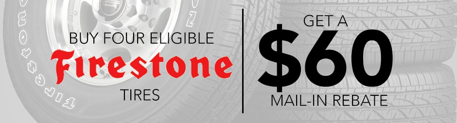 Buy Four Eligible Firestone Tires, Get a $60 Mail-In Rebate