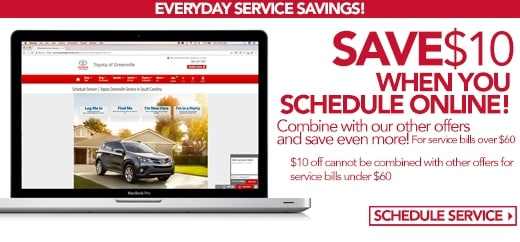 Save $10 On Online Appointment At Toyota of Greenville