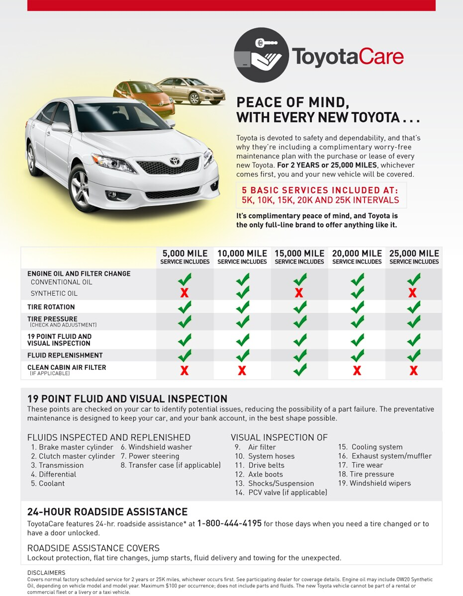 Toyotacare Roadside Assistance Number >> Toyotacare No Cost Maintenance Plan Toyota Of Muskegon