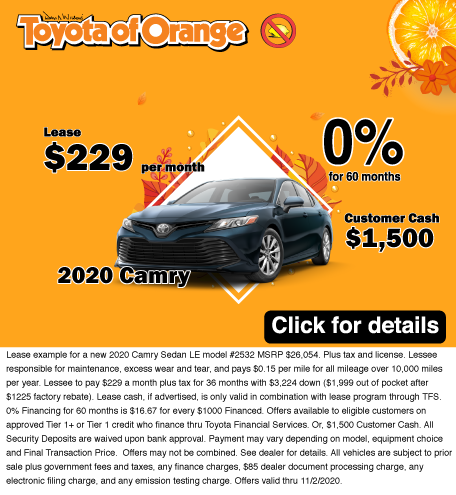 2020 Toyota Camry lease offer October