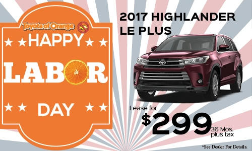 Toyota Highlander 2017 Lease >> 2017 Toyota Highlander Lease Offer Toyota Of Orange