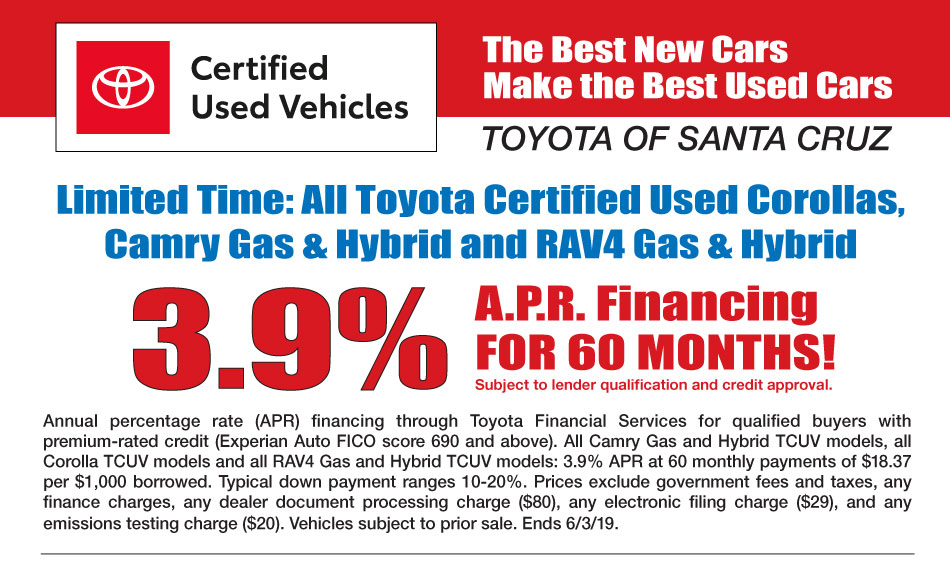 Toyota Certified Pre Owned >> Certified Pre Owned Toyota Inventory Santa Cruz Ca Toyota Of