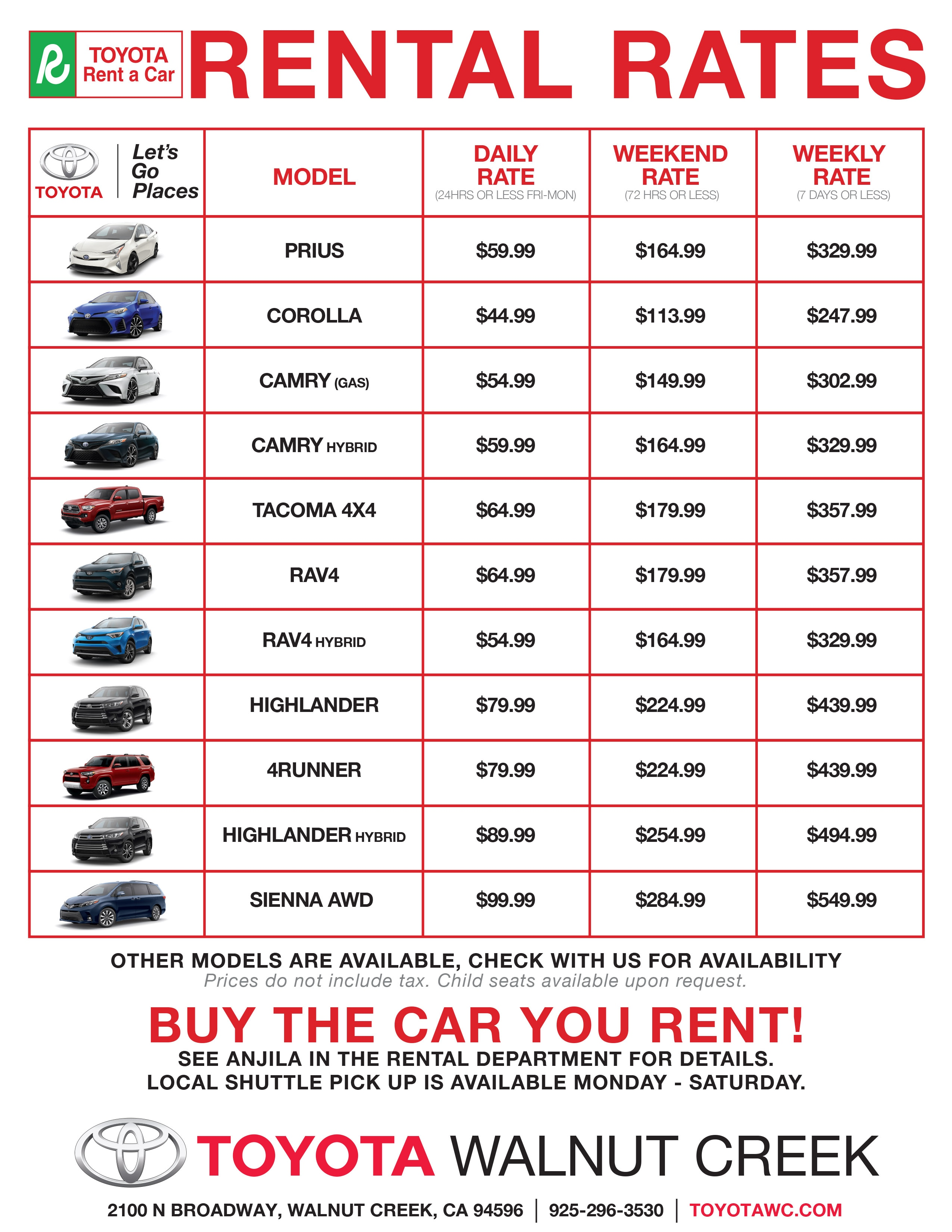Toyota Walnut Creek >> Toyota Rent a Car   Toyota Walnut Creek
