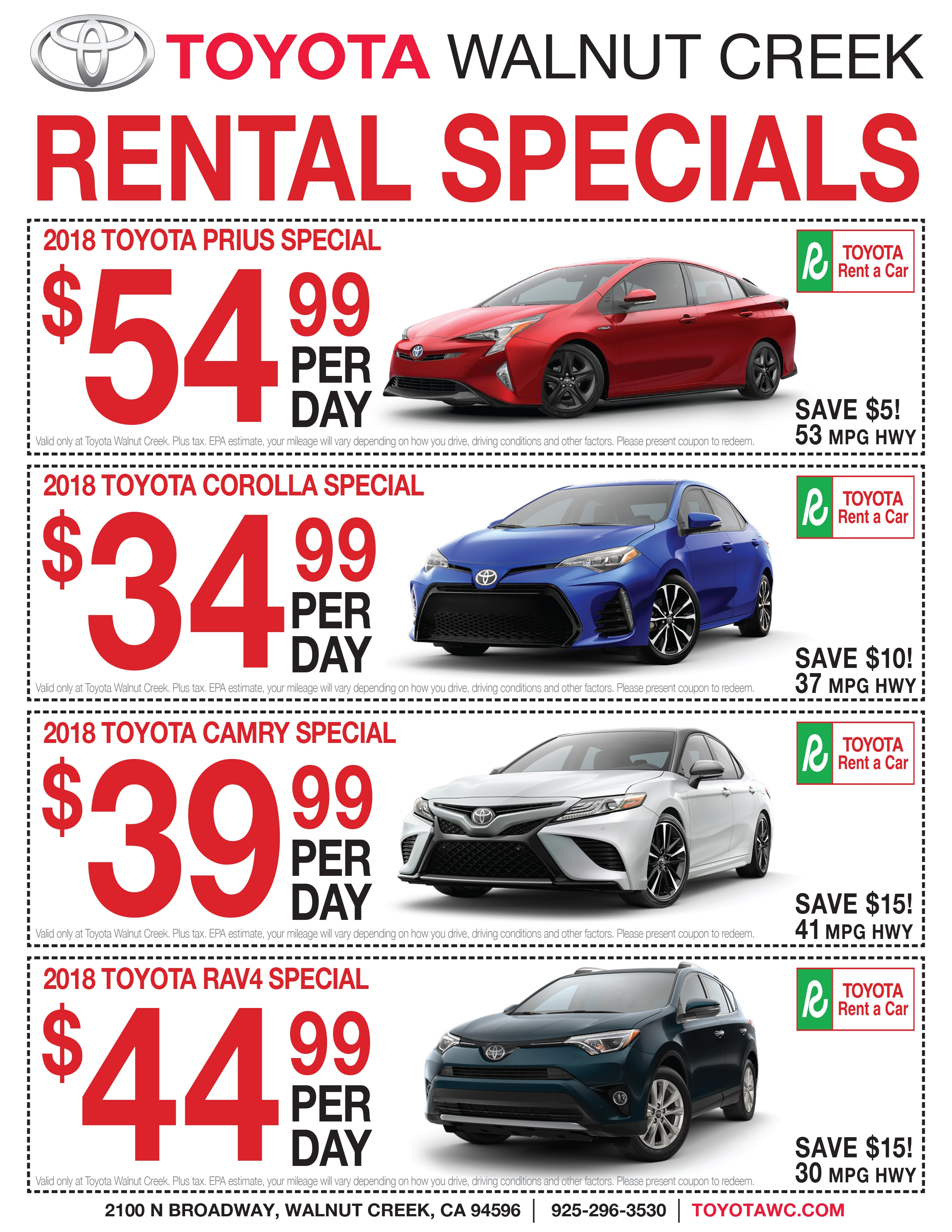 Toyota Rental Car Rates U0026 Information. TOYOTA ...