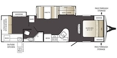 2013 KEYSTONE RV OUTBACK TERRAIN 321TBH ULTRA LITE 35FT BUNK HOUSE OUTDOOR KITCHEN, SLEEPS 10, TV AND MORE!